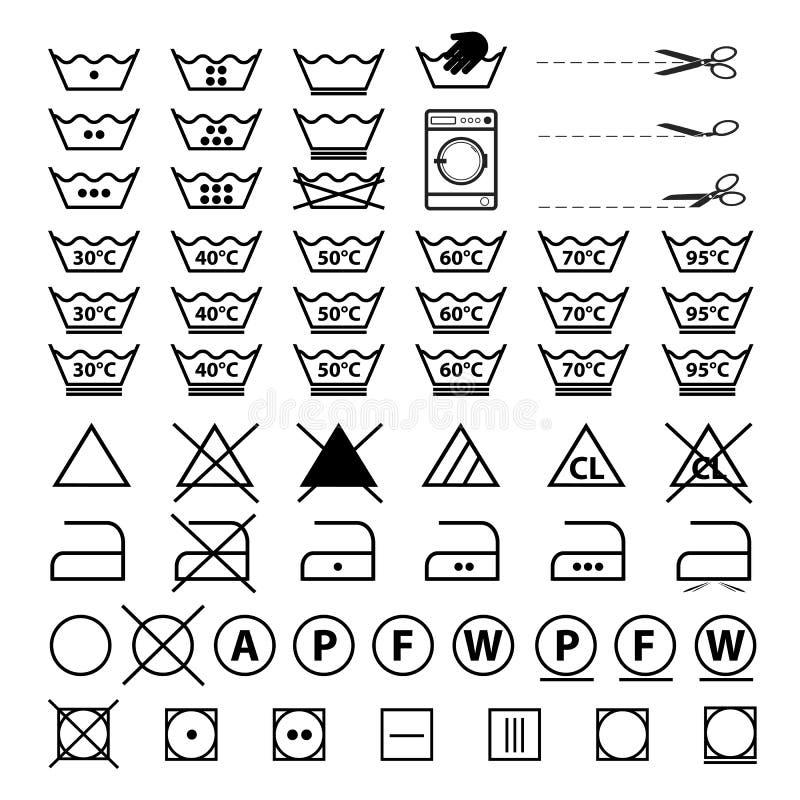 Символы прачечной - набор иллюстраций вектора - изолированные на белой предпосылке бесплатная иллюстрация