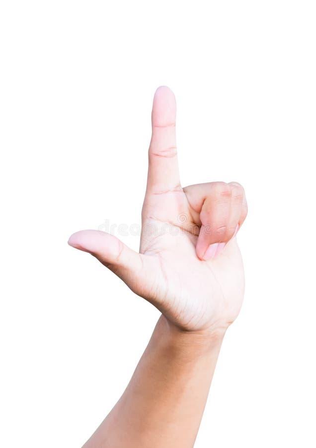 Символы проигравшего руки показывая на белой предпосылке стоковая фотография rf