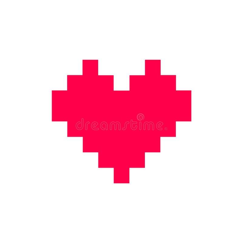 Символ иллюстрации вектора минимализма значка сердца пиксела красный иллюстрация вектора