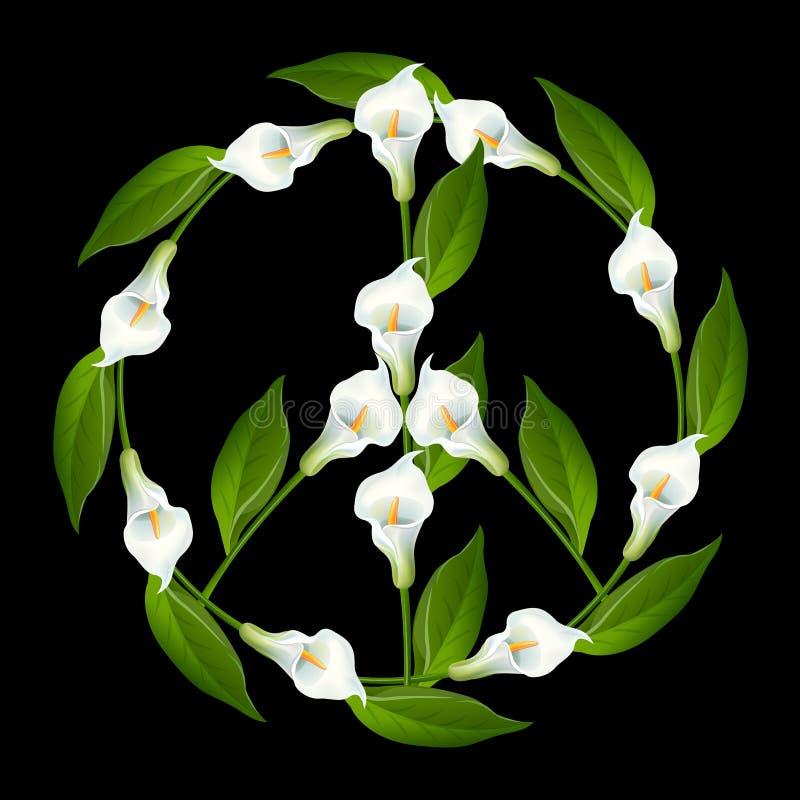 Символ мира, знак мира, лилия Calla, Zantedeschien, Zantedeschia, лилии Arum, Cantedeskia, kalijka, kalia иллюстрация вектора