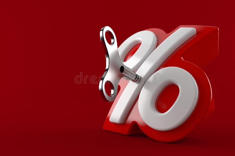 Символ процентов с ключом clockwork иллюстрация штока
