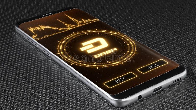 Символ cryptocurrency черточки на мобильном экране приложения иллюстрация 3d