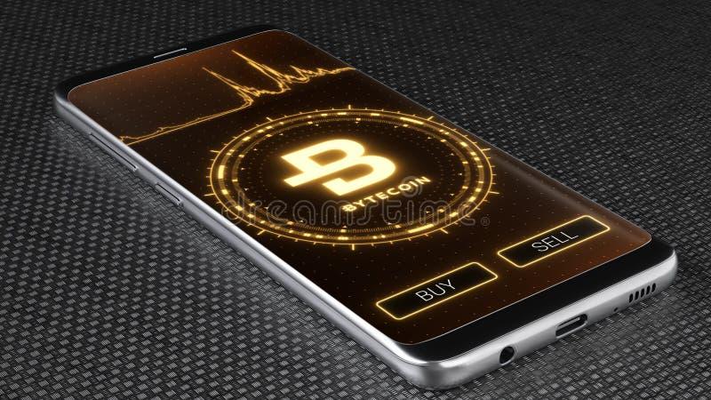 Символ cryptocurrency Bytecoin на мобильном экране приложения иллюстрация 3d