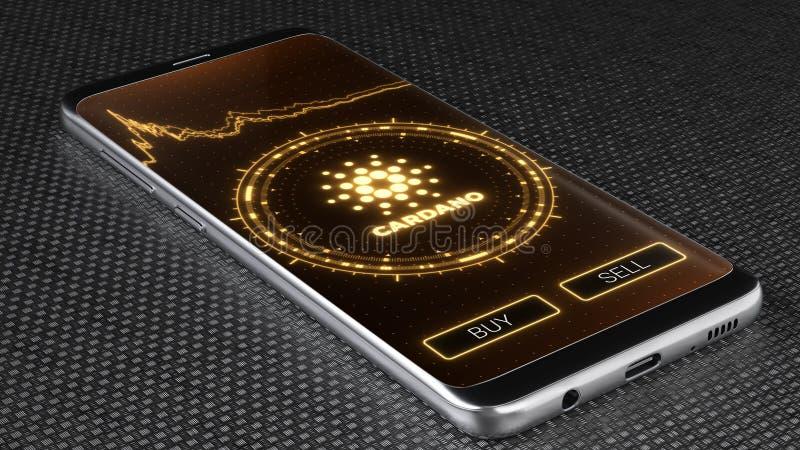 Символ cryptocurrency Cardano на мобильном экране приложения иллюстрация 3d бесплатная иллюстрация