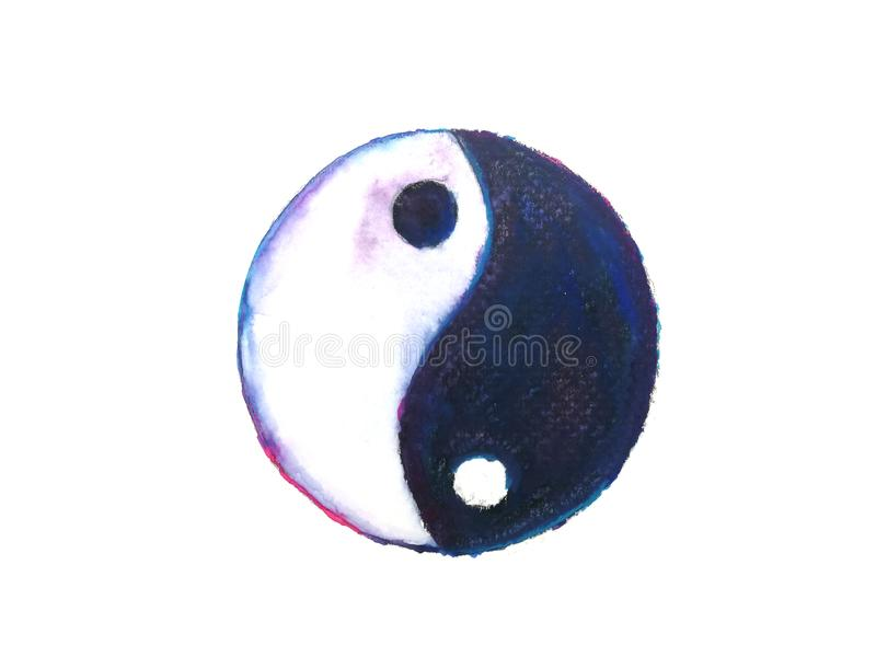 Символ Ying yang изолированный на белой предпосылке вычерченная рука иллюстрация вектора