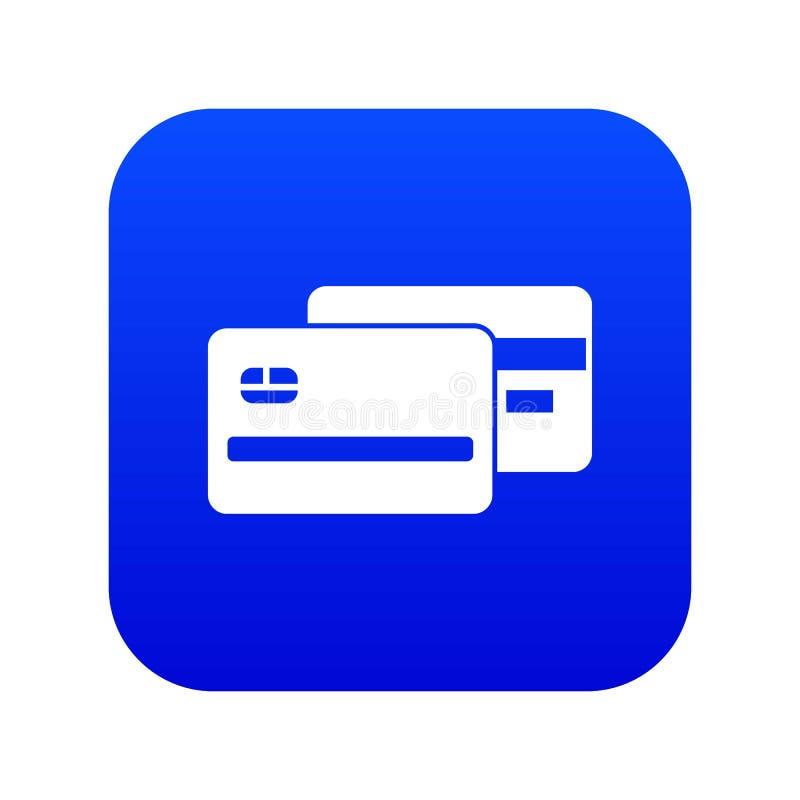 Синь значка кредитной карточки цифровая иллюстрация вектора