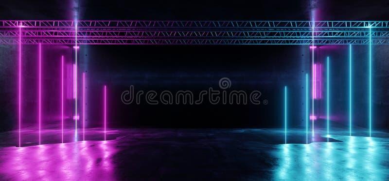 Синь неоновых лазерных лучей вертикали космического корабля Consctruction Sci Fi этапа спектра ретро современных дневных красная  бесплатная иллюстрация