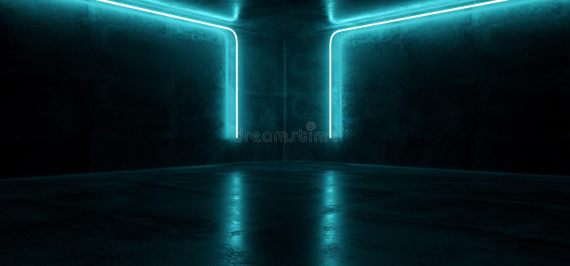 Синь неонового футуристического киберпанка Sci Fi накаляя ретро современная живая освещает комнаты этапа шоу лазера бетон Hall пу иллюстрация штока