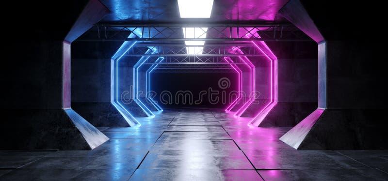 Синь приведенная лазера футуристического космического корабля неоновая дневная светящая роскошная пурпурная освещает накаляя кори иллюстрация штока