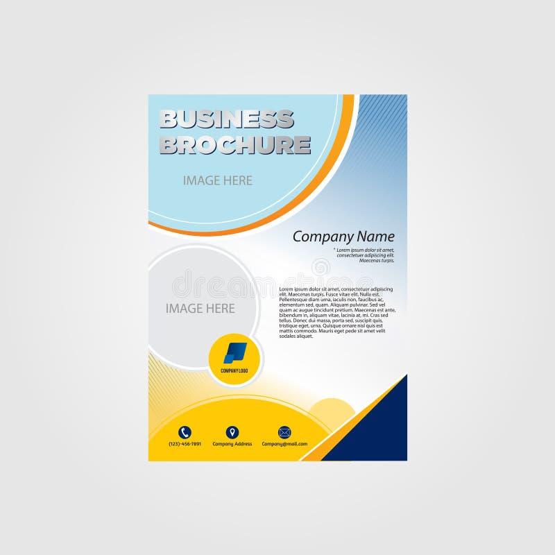 Синь шаблона брошюры темно-желтая иллюстрация штока