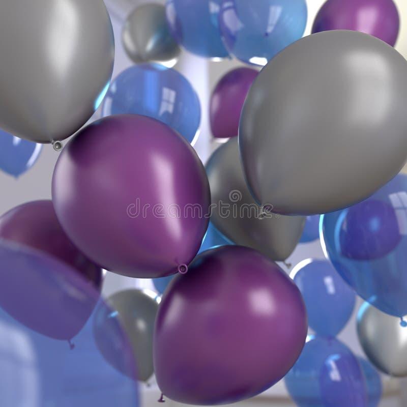 Синь торжества воздушных шаров серебряная пурпурная стоковая фотография rf