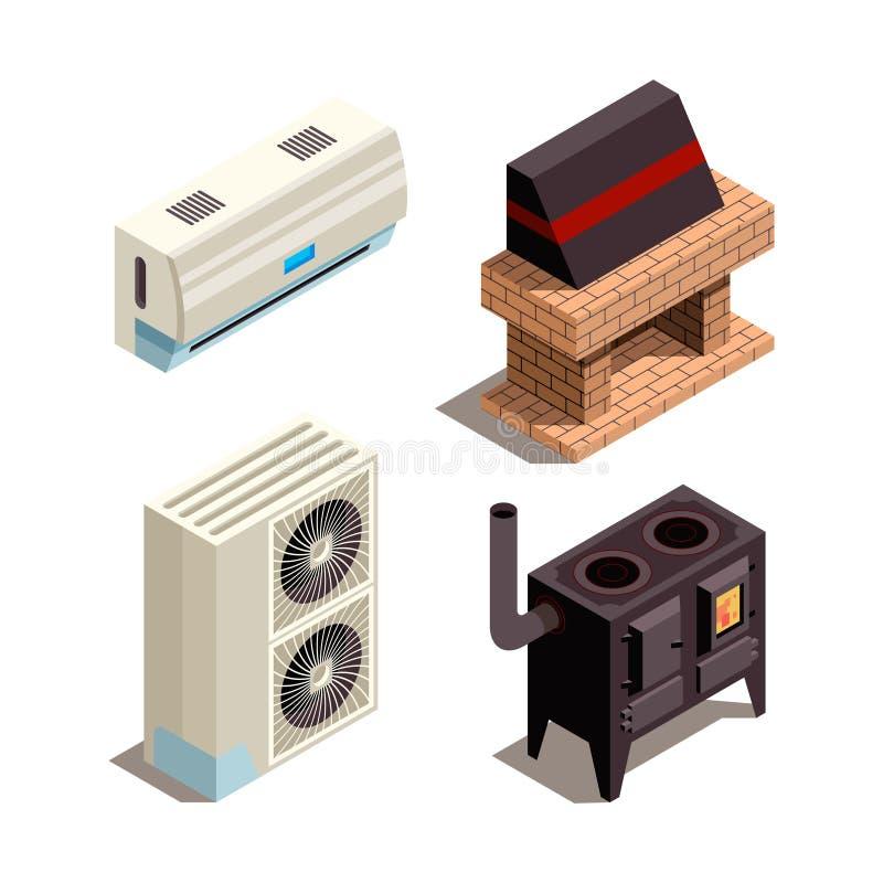 Системы кондиционера Охлаждая собрание вектора трубы давления компрессора генераторов топления равновеликое иллюстрация вектора