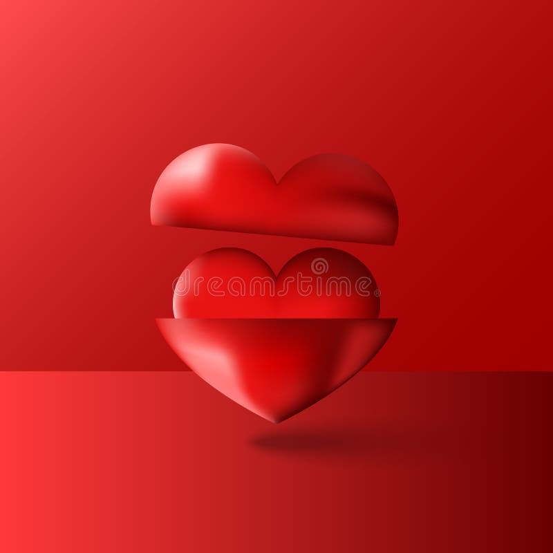 2 сияющих 3D сердца красный цвет, пурпурные составы тома, счастливая поздравительная открытка дня Святого Валентина, любят плакат иллюстрация вектора