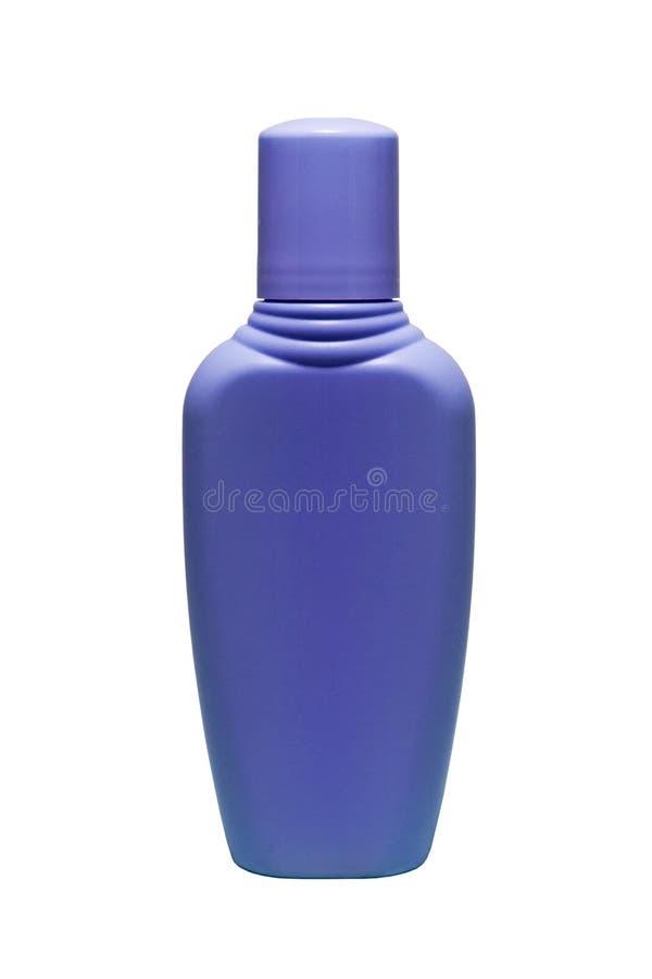 Сирень, пурпур, фиолет, бутылка трубки лаванды шампуня, проводника, волос полощет, гель изолированный на белой предпосылке стоковое изображение rf