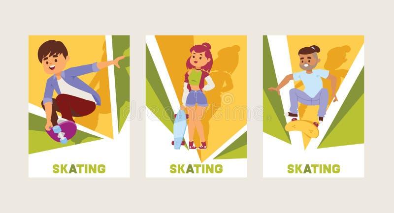Скейтбордисты на конькобежцах подростка фона характеров мальчика или девушки вектора скейтборда skateboarding скача на борту внут бесплатная иллюстрация