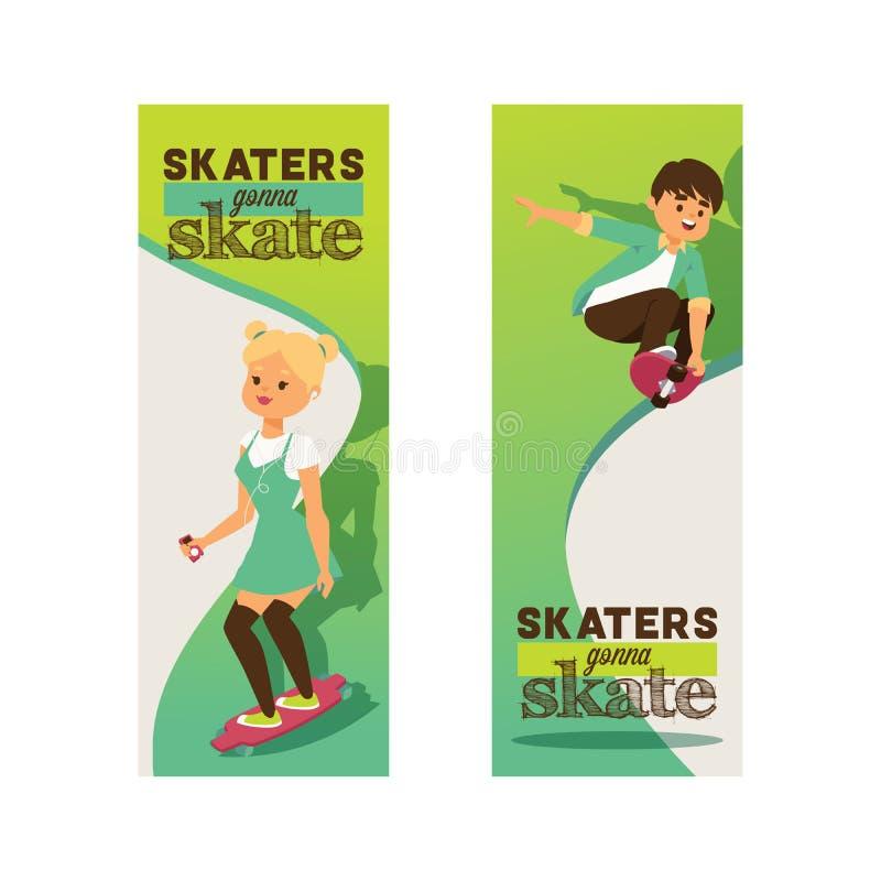 Скейтбордисты на конькобежцах подростка фона характеров мальчика или девушки вектора скейтборда skateboarding скача на борту внут иллюстрация вектора