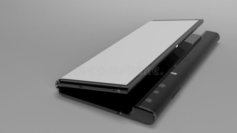 Складывая телефон предпосылки, 3d представляет стоковое фото