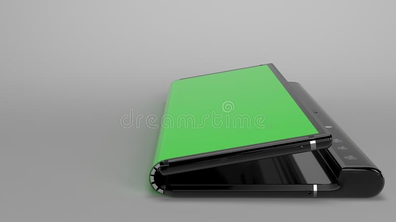 Складывая телефон предпосылки, 3d представляет стоковое изображение rf