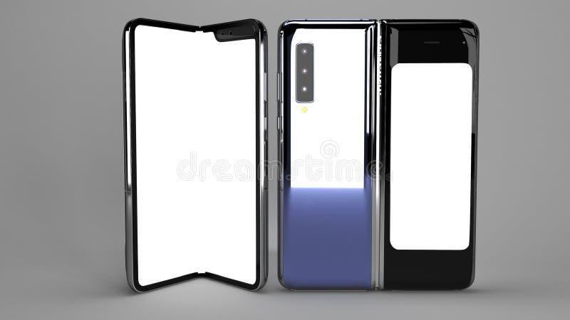 Складывая телефон предпосылки, 3d представляет стоковые фотографии rf