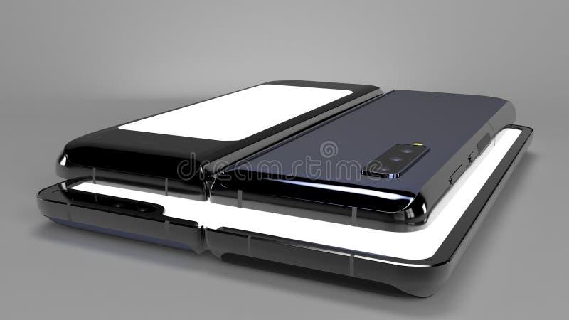 Складывая телефон предпосылки, 3d представляет стоковая фотография