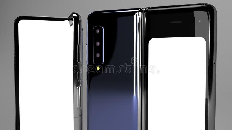 Складывая телефон предпосылки, 3d представляет стоковая фотография rf