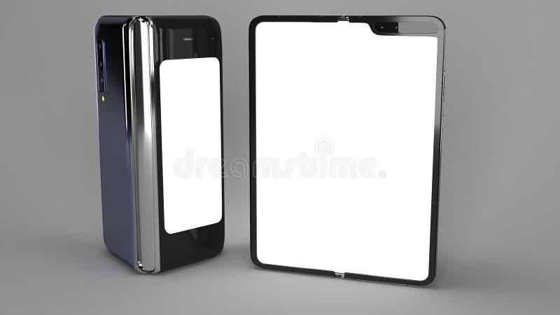 Складывая телефон предпосылки, 3d представляет стоковое изображение