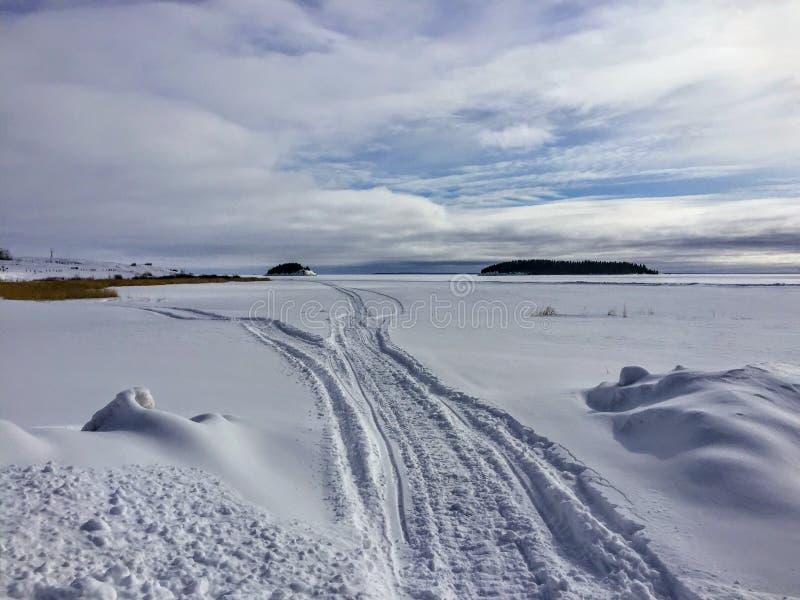 Следы снегохода в обширном ландшафте зимы форта Chipewyan, Альберты, Канады стоковые фото