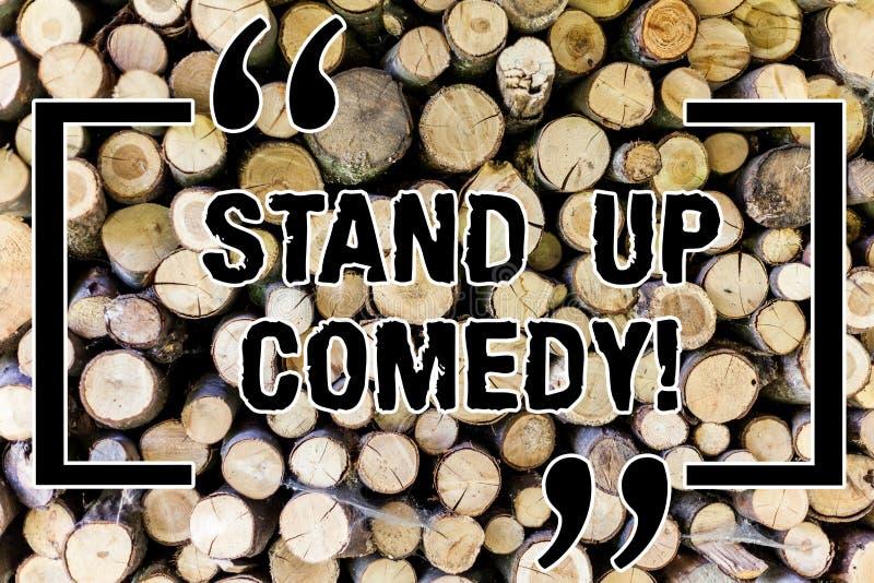 Слово писать комедию стойки текста вверх Концепция дела для комедийного актера выполняя говорить перед живой аудиторией деревянно иллюстрация вектора