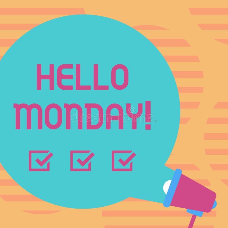 Слово писать текст Hellomonday Концепция дела для положительного сообщения для нового пробела начала недели дня вокруг речи цвета бесплатная иллюстрация
