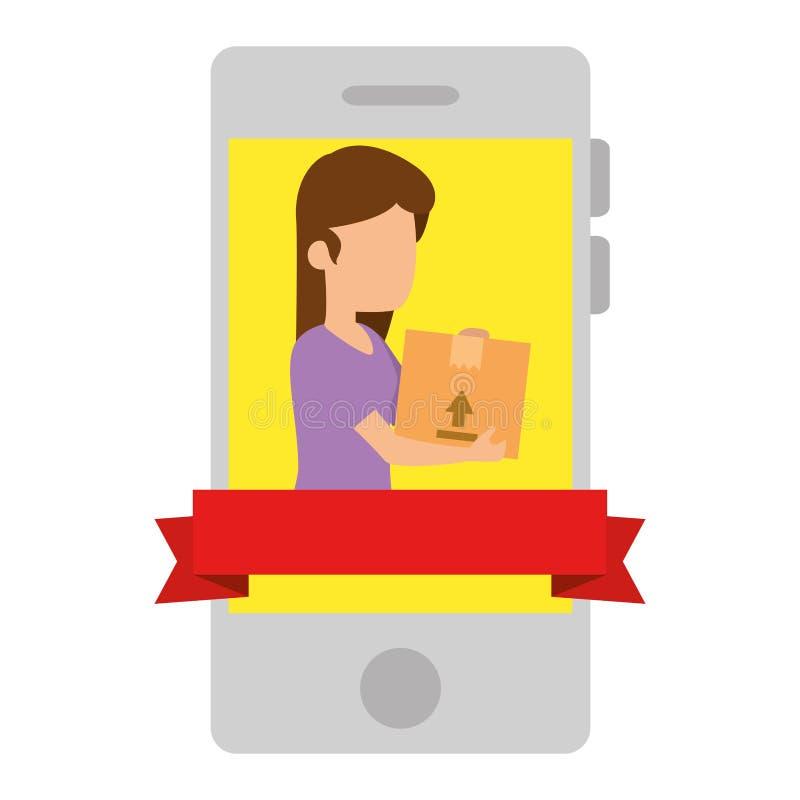 Смартфон с женщиной получая товар иллюстрация вектора
