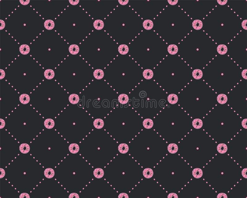 Смешная картина принцессы с геометрической структурой и сладкими donuts Картина принцессы помадок донута, милая предназначенная д иллюстрация штока