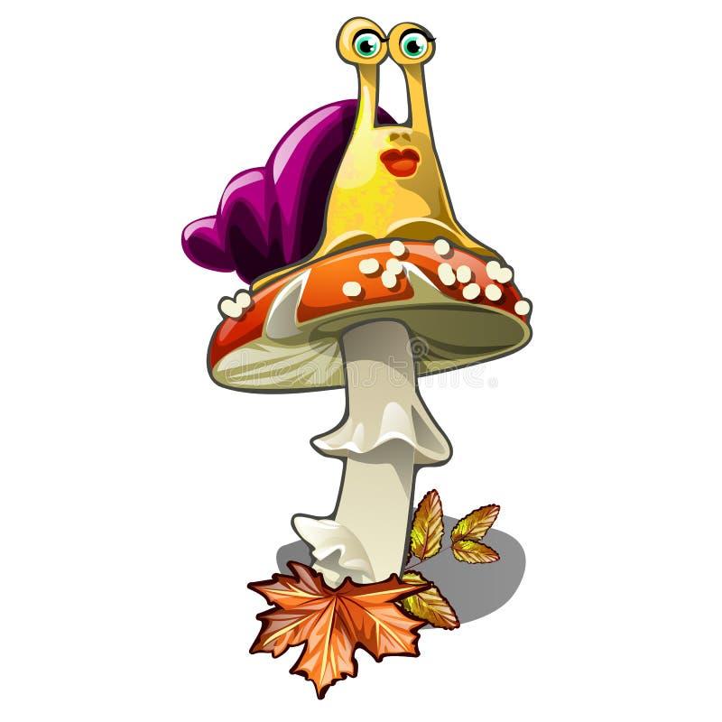 Смешная улитка на пластинчатом грибе мухы изолированном на белой предпосылке Иллюстрация конца-вверх шаржа вектора бесплатная иллюстрация