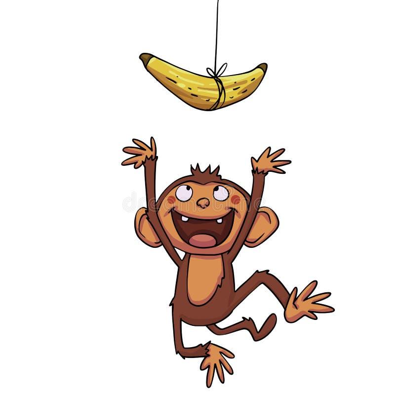 Смешная обезьяна пробуя к банану cath иллюстрация вектора