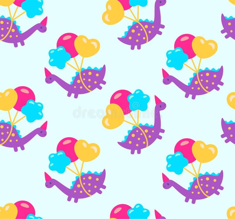 Смешные динозавры мультфильма со значком иллюстрации воздушных шаров также вектор иллюстрации притяжки corel иллюстрация вектора