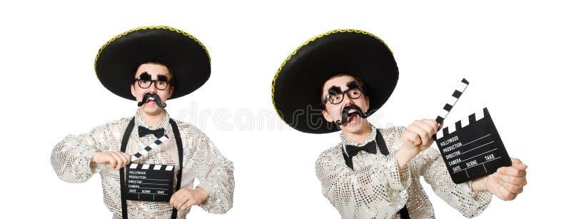 Смешной мексиканец с доской кино стоковое фото
