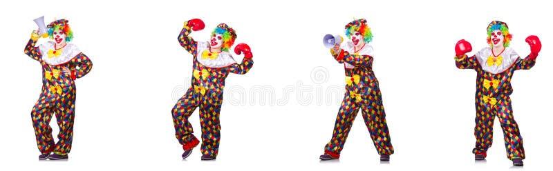 Смешной мужской клоун с перчатками и громкоговорителем бокса стоковое фото