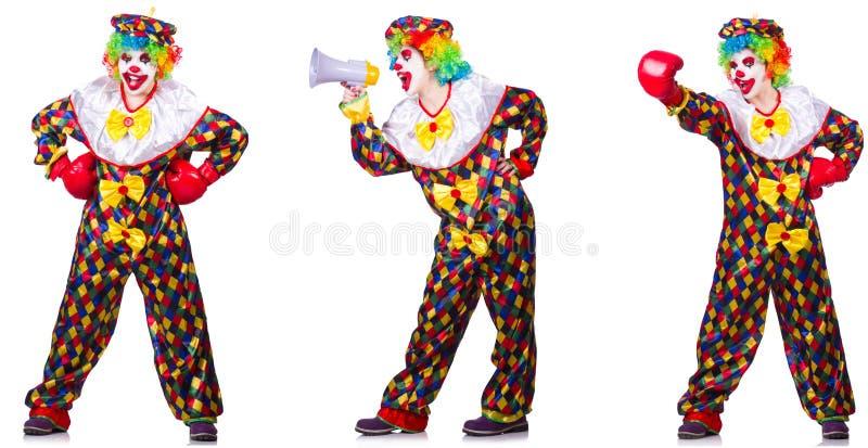 Смешной мужской клоун с перчатками и громкоговорителем бокса стоковые фотографии rf
