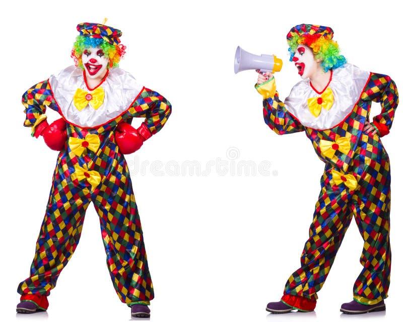 Смешной мужской клоун с перчатками и громкоговорителем бокса стоковое изображение
