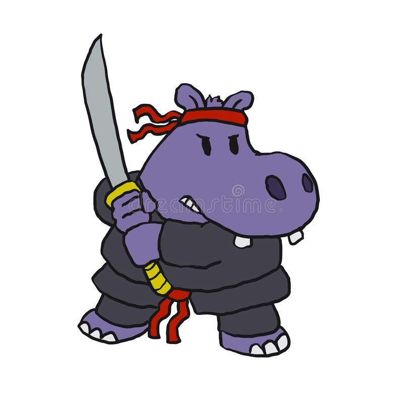Смешной мультфильм ninja бегемота бесплатная иллюстрация