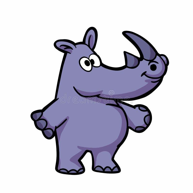 Смешной пурпурный мультфильм rino иллюстрация вектора