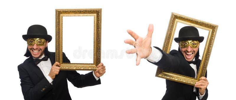 Смешной человек с картинной рамкой на белизне стоковое изображение