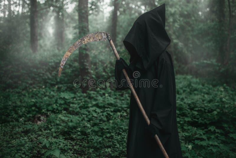 Смерть с косой в темном туманном лесе стоковая фотография rf