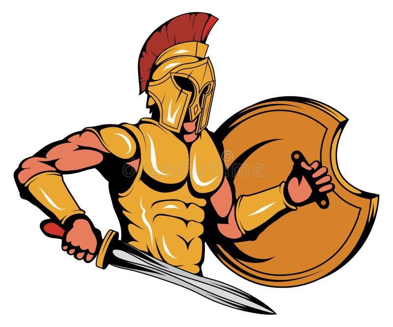 Спартанский график талисмана воина, римский воин с традиционным оружием, спартанские воин в панцыре золота, соответствующий как л бесплатная иллюстрация
