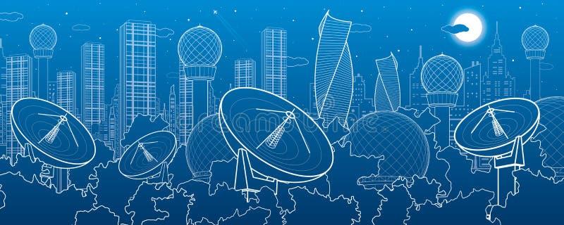Спутниковые антенна-тарелки в древесинах, техника связи антенны, метеорологическая станция, установки радиолокатора, город ночи,  иллюстрация штока