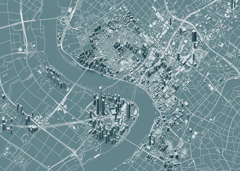 Спутниковый взгляд Шанхая, карты города с домом и зданием небоскребы Китай стоковое фото rf