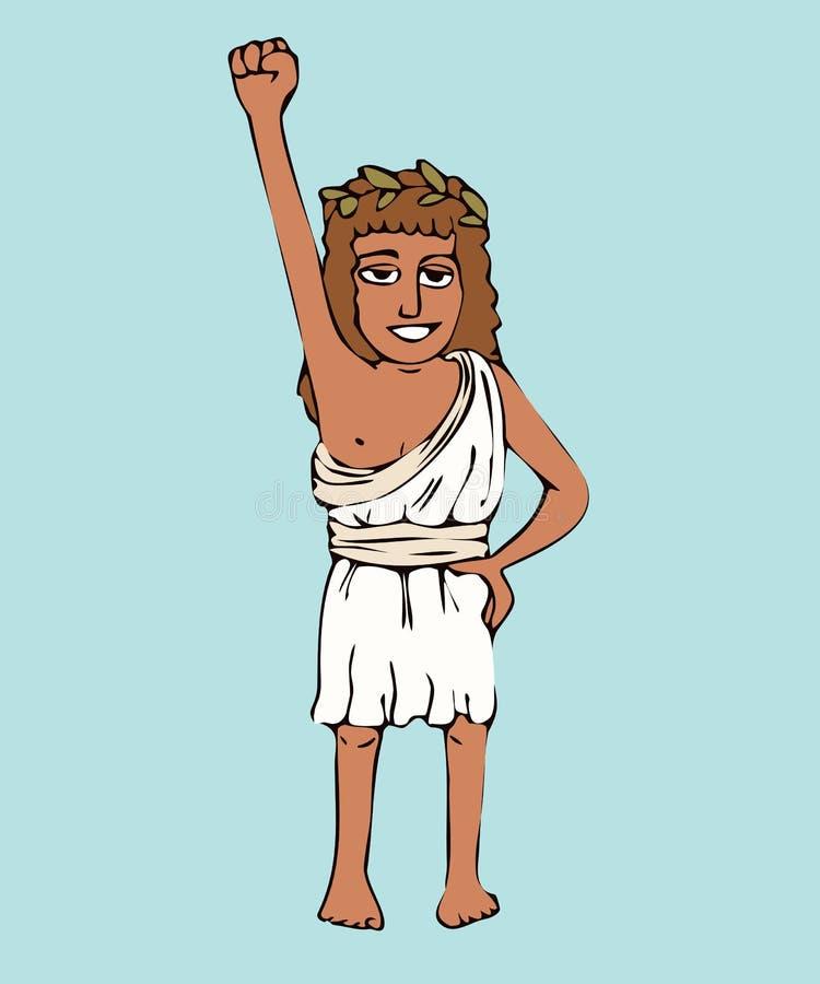 Спортсмен девушки древнегреческого в прованском венке и коротком chiton иллюстрация вектора