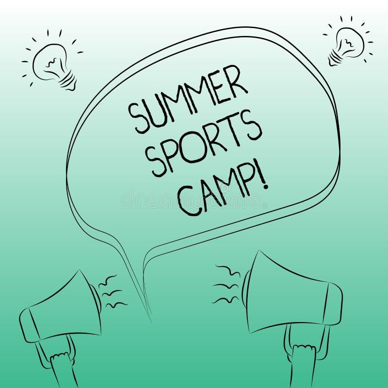 Спорт лета сочинительства текста почерка располагаются лагерем Смысл концепции обеспечивая объекты для еды и ремесленничеств спат иллюстрация штока