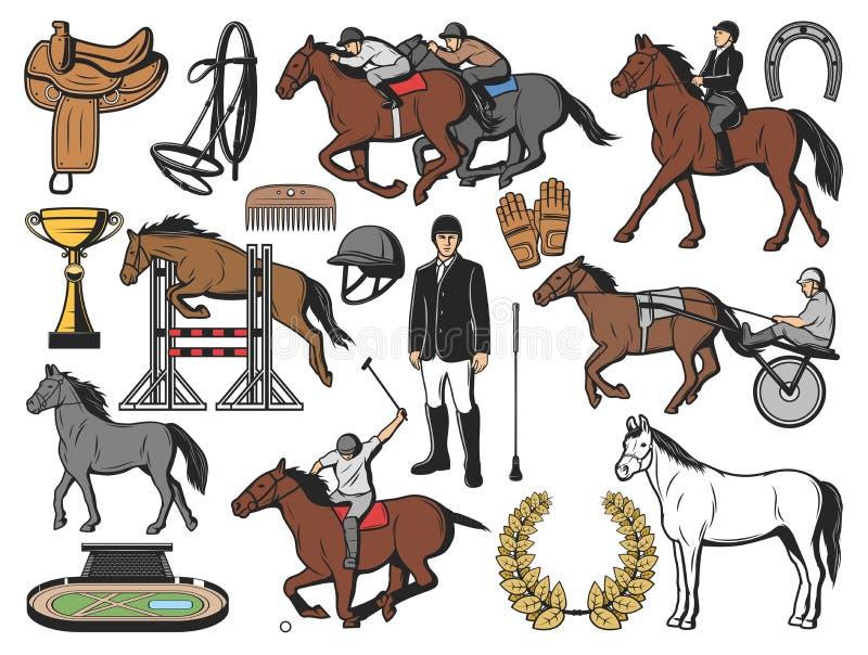 Спорт поло скачек и оборудование жокея иллюстрация штока