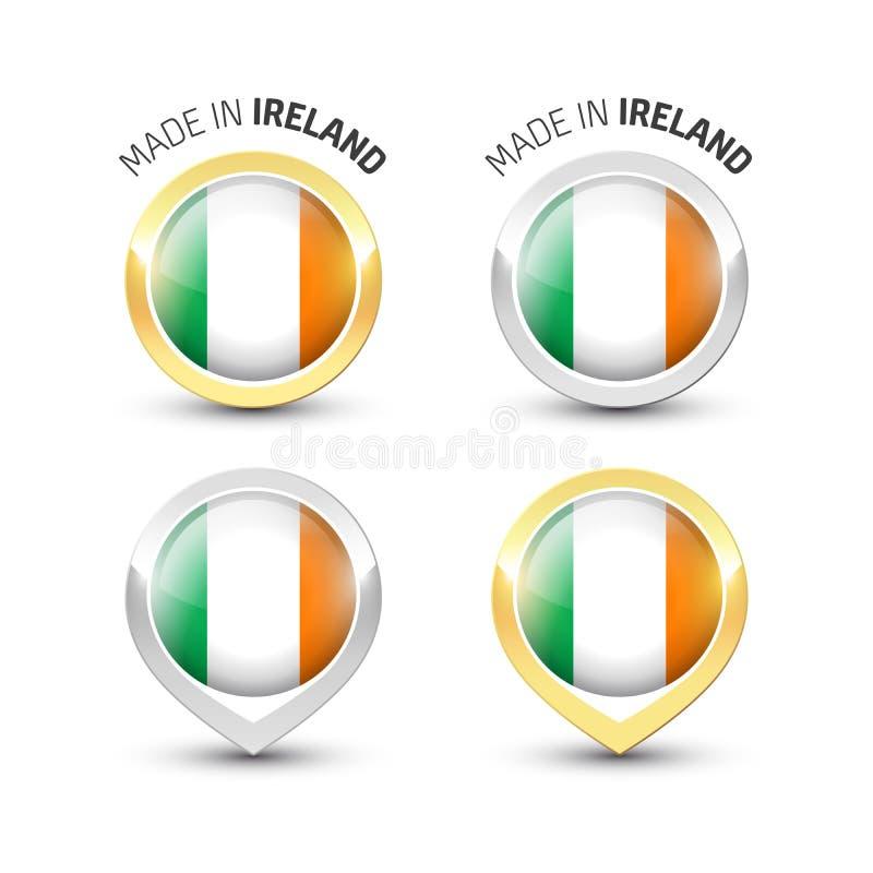 Сделанный в Ирландии - круглых ярлыках с флагами иллюстрация штока