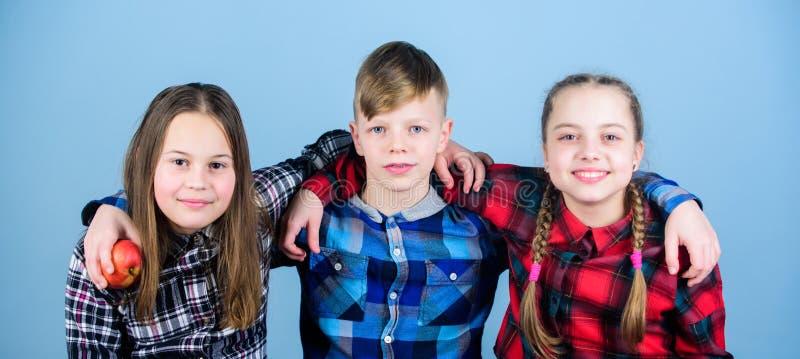 Съешьте плод и быть здоровый Подростки группы держат яблоки Здоровый уклад жизни Мальчик и подруги в подобное checkered стоковые фото